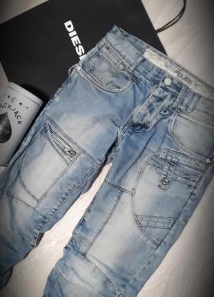 Трендовые мужские джинсы брюки с накладными карманами