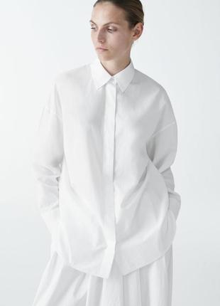 Шикарная белая хлопковая рубашка дорогого бренда cos