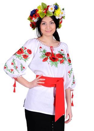 Блуза жіноча макова роса (батист білий)