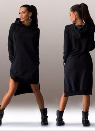 Стильное платье-худи на флисе c капюшоном