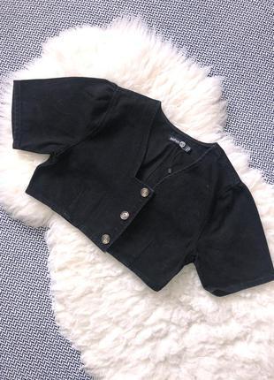 Джинсовый графитовый топ футболка джинс пуговки укороченый