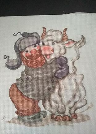 Картина  бык белый ( вышивка крестом)