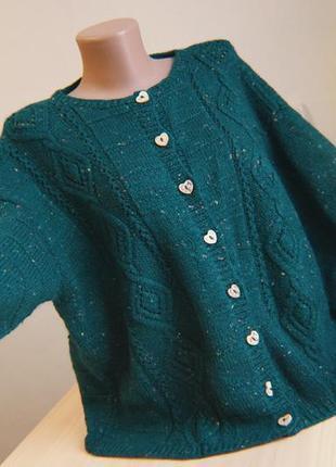 Кардиган вязаный зеленый объемный ажурный синий