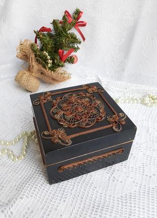 Шкатулка колокольчик ссср буковина советская деревянная лак с филигранью