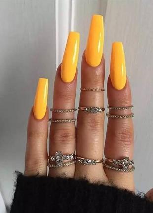Накладные ногти типсы оранжевого цвета форма балерина