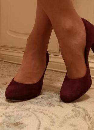 Бордовые туфли unisa на каблуке 10 см