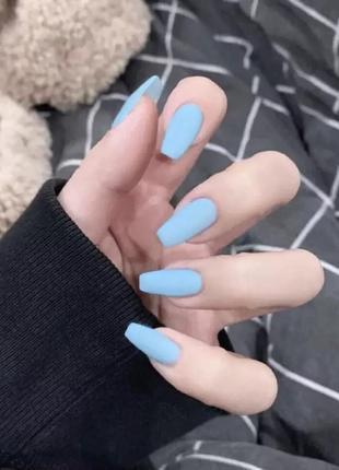 Накладные ногти типсы голубого цвета матовые