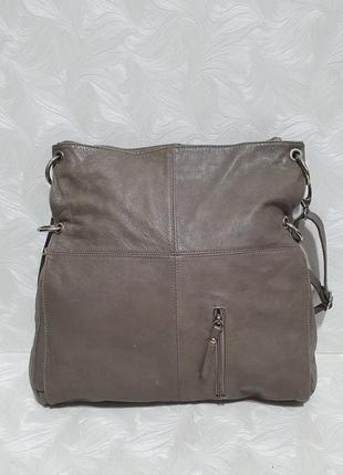 Бежевая кожаная сумка vera pelle
