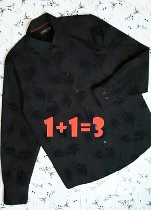 🌿1+1=3 стильная черная рубашка с выбитым узором f&f с длинным рукавом, размер 48 - 50