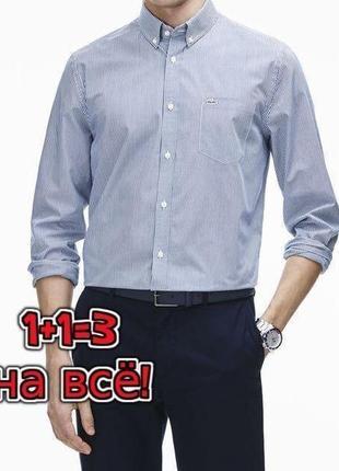 🌿1+1=3 брендовая рубашка в полоску с длинным рукавом lacoste оригинал, размер 54 - 56