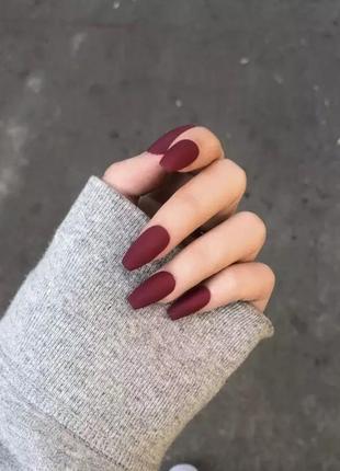 Накладные ногти типсы бордовые матовые винные