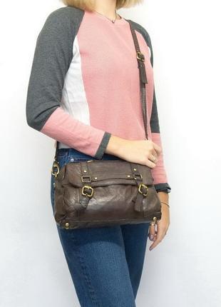 Кожаная сумка кроссбоди, topshop, натуральная кожа.