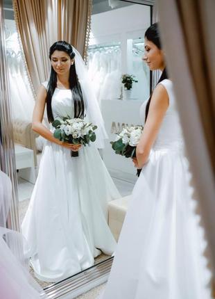 Свадебное платье ( xs/s ) ( 36)  регулируемый размер а-силуэт