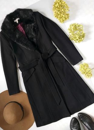 Шерстяное пальто на запах с поясом р.34