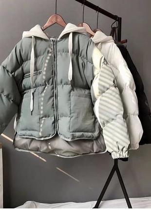 Куртка зима женская (черный, молоко и оливка)