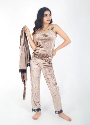 Піжама/домашній костюм мраморний велюр.
