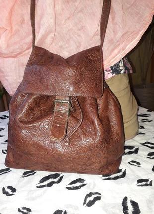 Натуральная кожа/трендовая сумка-мешок