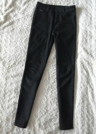 Тёплые, утеплённые чёрные джинсы, зимние, на флисе, на зиму