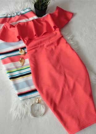Яркое морковное платье с открытыми плечами от  newlook