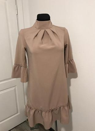 Стильное платье цвета капучино / для беременных / шикарное