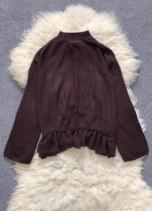 Свитер кофта блуза вязаная широкий рукав оборки рюши
