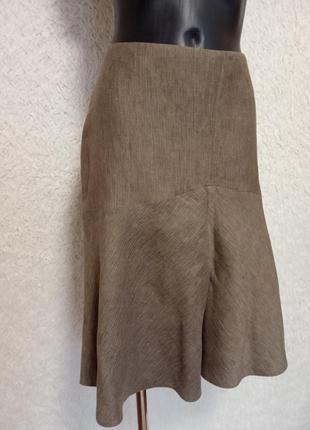 Льняная юбка на подкладке 18р