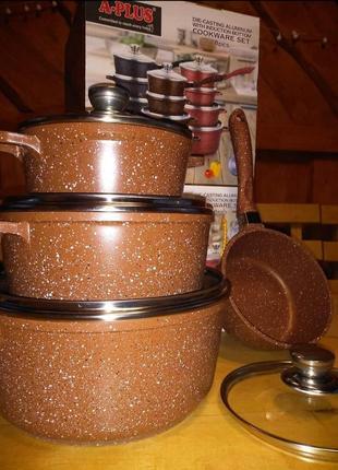 Набір посуду з мармуровим покриттям