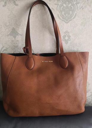 Vip! роскошная большая кожаная сумка michael kors👜👜💣🔥💥