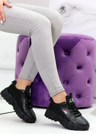 Шикарные женские чёрные кроссовки кросівки
