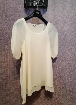 Двойная удлинённая шифоновая блузка туника с карманами