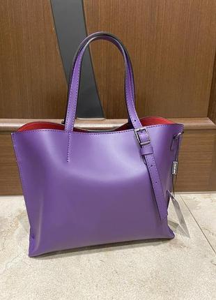 Фиолетовая сумка лиловая сумка итальянская сумка шоппер шкіряна сумка італійська