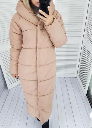 Длинная теплая куртка курточка пальто пуховик плащевка силикон до -25