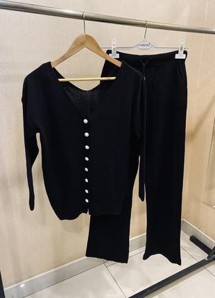 Тёплый женский черный трикотажный кашемировый прогулочный костюм