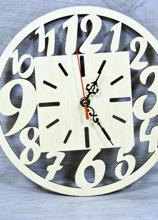 Настенные часы из фанеры диаметром 25 см (2246)