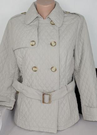 Брендовая стеганая демисезонная куртка с поясом marks&spencer синтепон этикетка