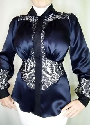 Корсажная шелковая блуза ferre с кружевом