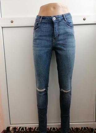 Джинсы скинни женские синие с дырками на коленях