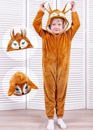 Кігурумі дитячий та підлітковий лиса, коричнева, піжама