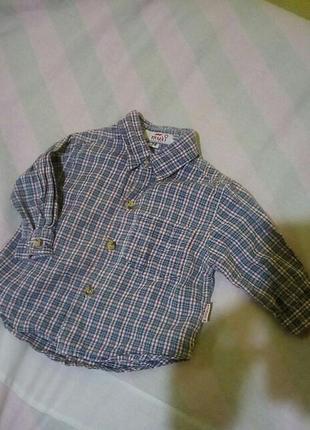 Рубашка в клеточку на малыша 6-9 месяцев
