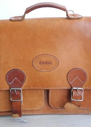 Винтажная сумка портфель city line ( 100% кожа , 40*30 см ) италия