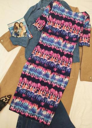 F&f платье миди эластичное большое этно принт розовое синее голубое