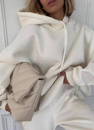 Худи джоггеры трехнитка на флисе оверсайз спортивный костюм женский