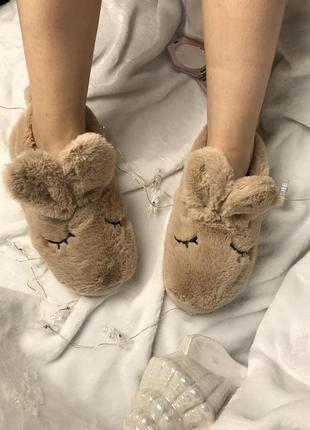 Домашние тапочки зайки тапки для дома тёплые домашняя обувь