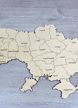 Карта украины вырезанная из фанеры с контурной гравировкой (ширина 50 см) (2254)