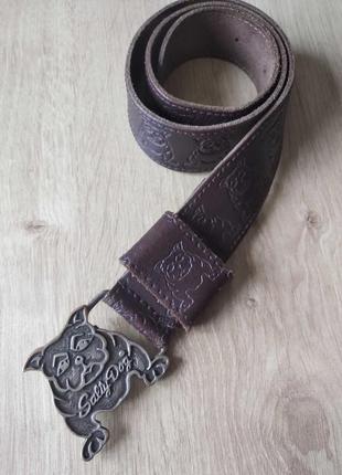 Детский кожаный ремень с английским бульдогом salty dog
