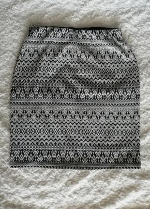 Обтягивающая юбка colins, мини, короткая, с узором