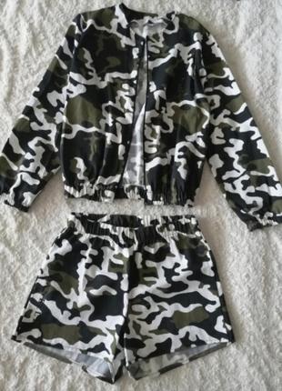 Джинсовый костюм, бомбер, короткие шорты, шортики, курточка, джинсовка