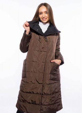 Пальто женское двустороннее 110p042-1 черно-коричневый