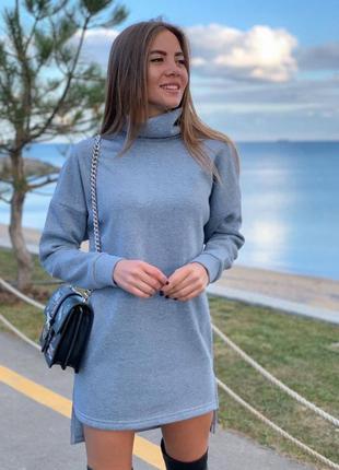 Платье базовое на флисе под горло зима туника зимние2 фото
