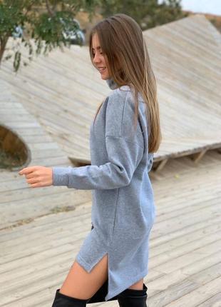 Платье базовое на флисе под горло зима туника зимние3 фото